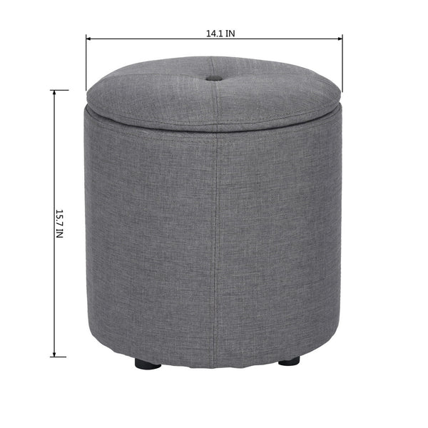 WHAKAMARU 14 inch 100% Polyester Round Solid Color Storage Ottoman