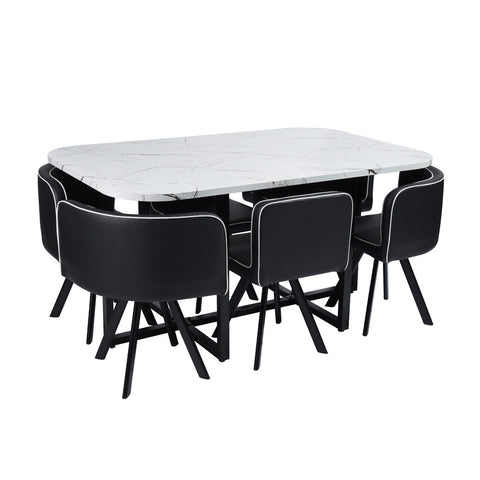 Dining Set Modern Minimalist  Dining Table Seating Combination Furniture Pizza -1 Table 6 Chairs