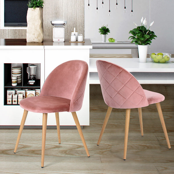 Zomba Dining Chairs Set of 2, Fashion Kitchen Room Chair Upholstered Velvet Chairs Leisure Side Chairs with Metal Legs