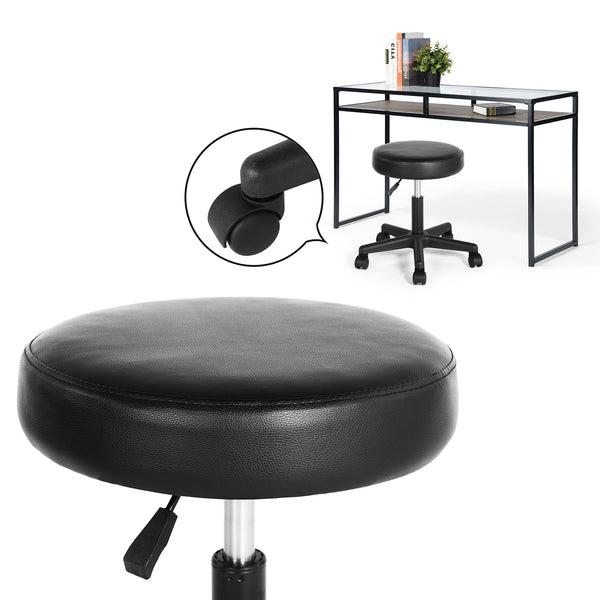NORMA Secretary Office Chair, PU Leather Home Office Swivel Chair Desk Chair Computer Chair (Black)