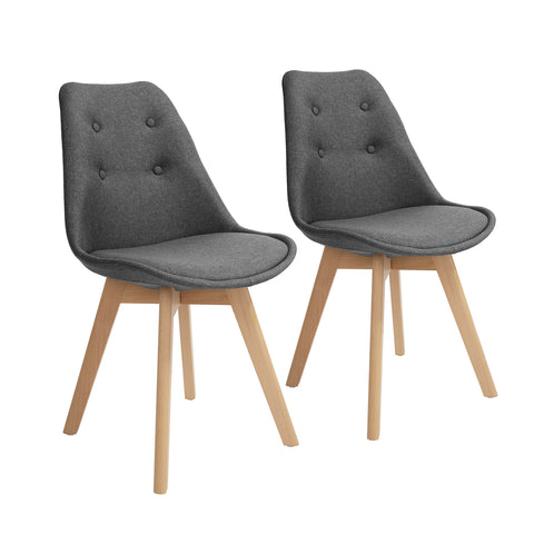TARIQ Dining Chairs Set of 2 Modern Style Grey Upholstered Chairs Solid Wood Legs for Kitchen Dining Living Room Home Office