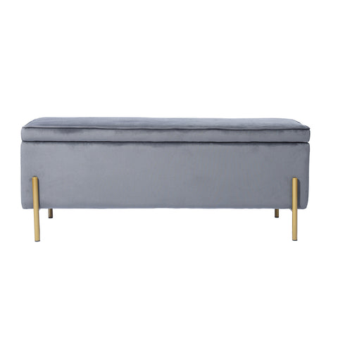 TUDOR Ottoman, 105cm Wide Rectangle Lift Top Storage Ottoman Bench in Upholstered Velvet Grey Frabic with Large Storage Space with Golden Leg, forLiving Room, Entryway, Bedroom
