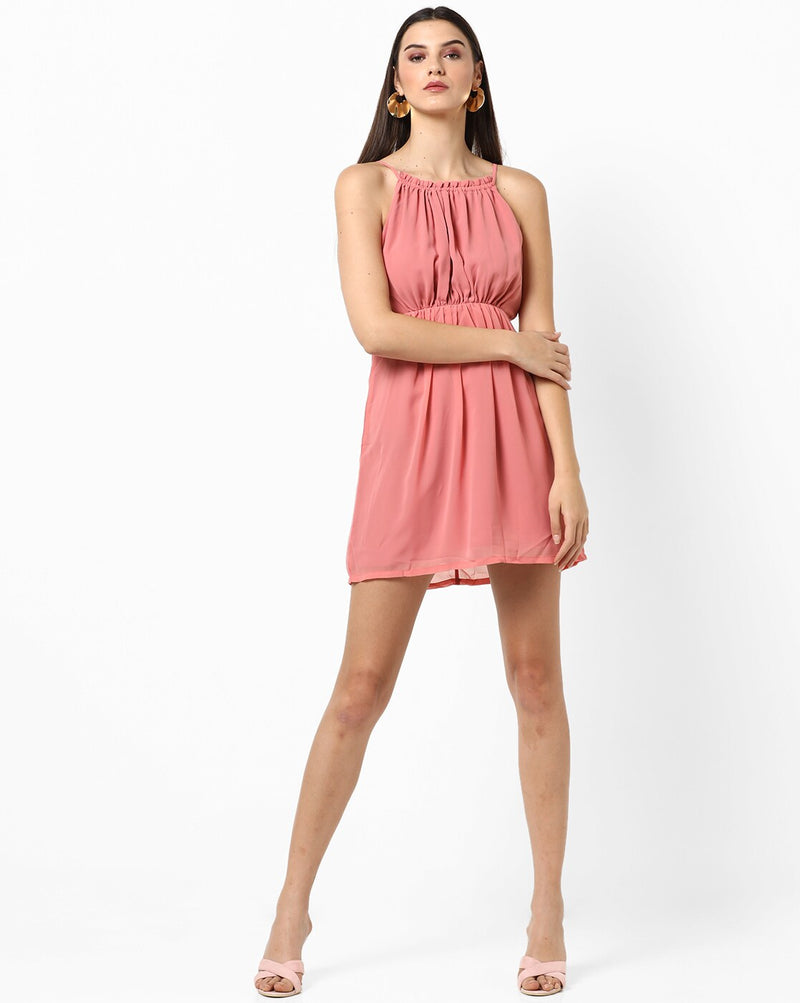 Pink Ruched Neck Dress