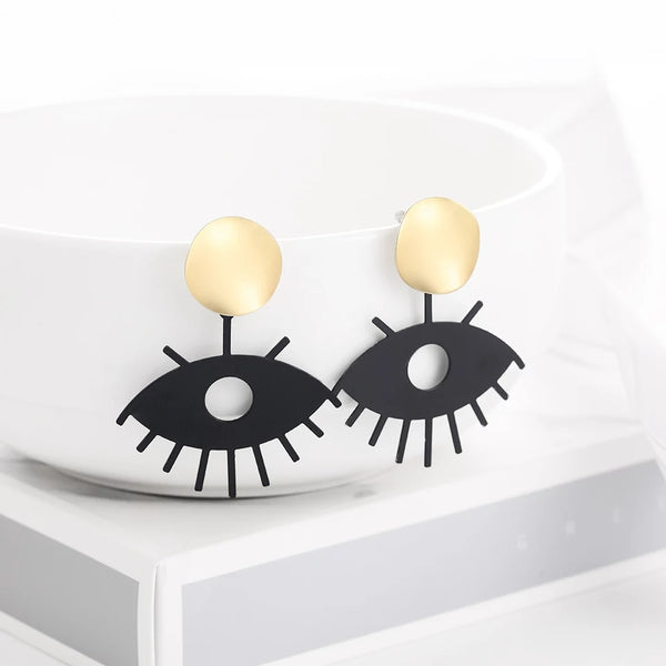 Golden Evil Eye Earrings