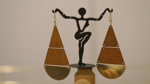 Brown Gold Plated Handcrafted Geometrical earrings