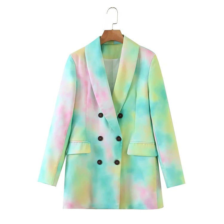 Tie Dye Double Breasted Blazer - Green