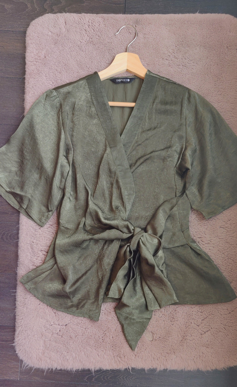 Olive Satin Wrap Top