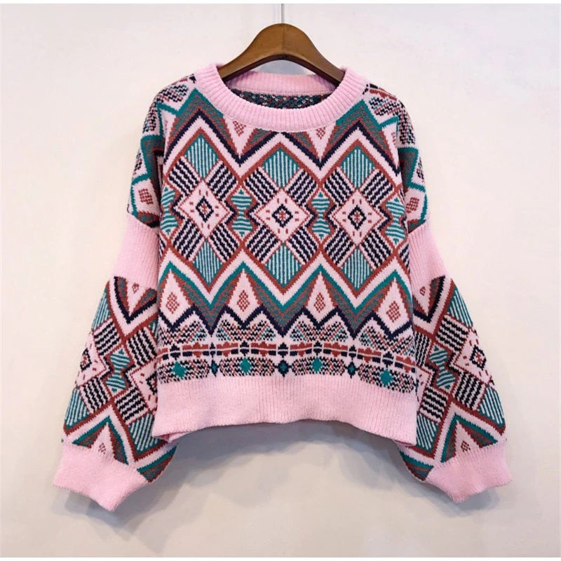 Pink Abstract Print Sweater