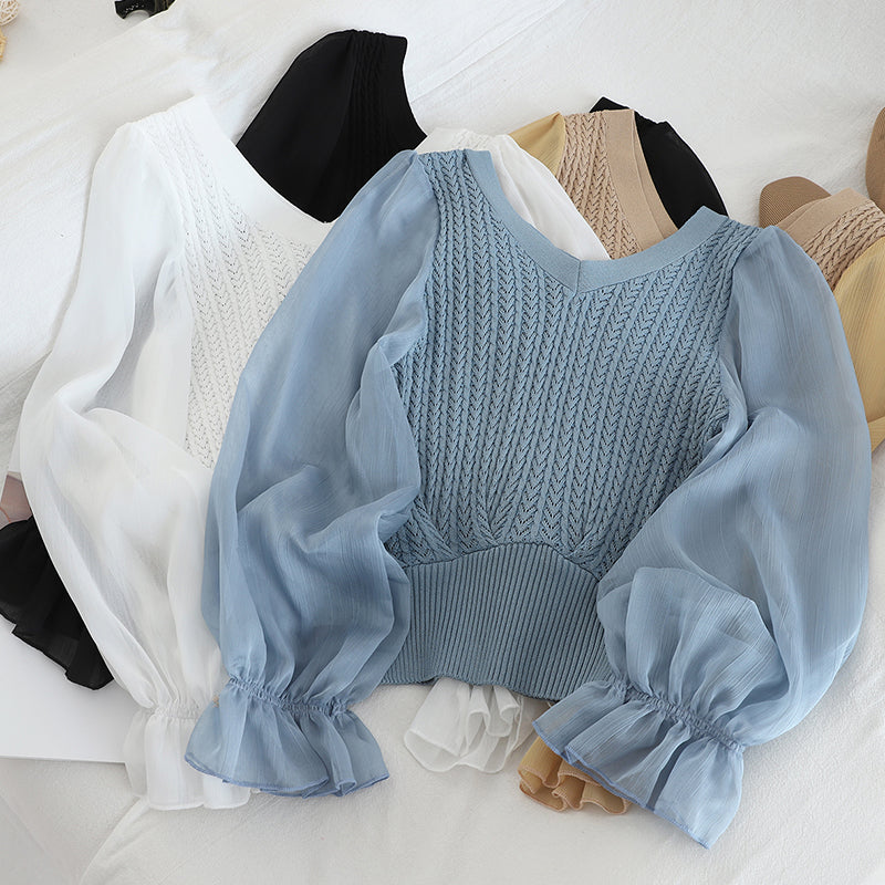 Chiffon Sleeve Crop Sweater