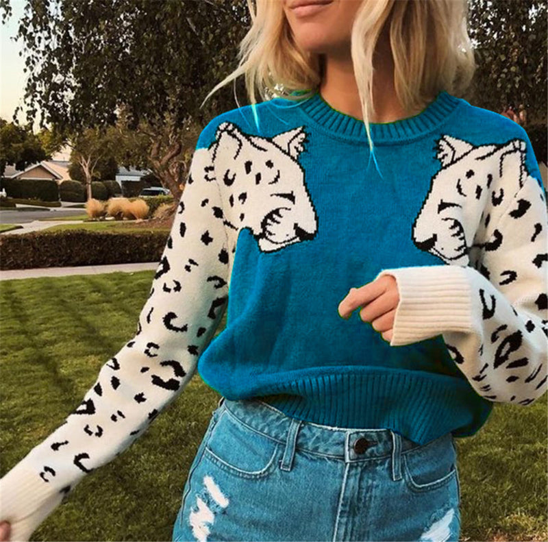 Blue Tiger Patchwork Sweater
