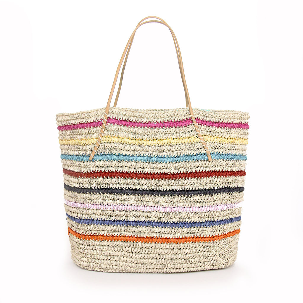 Multi Stripe Straw Tote-HANDBAGS-Jack Rogers USA