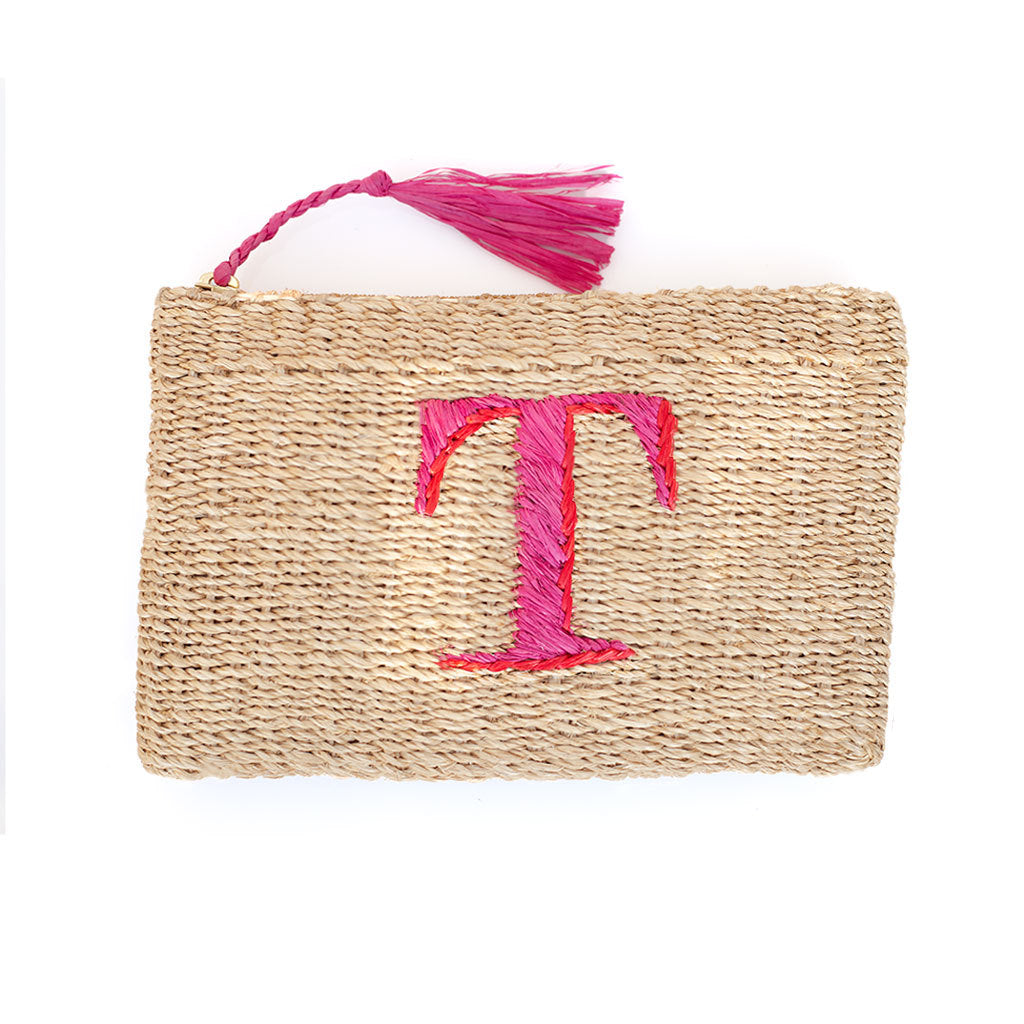 Initial Straw Pouch - Letter T