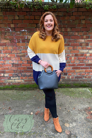 Mustard Navy Block jumper dress and wooden handle bag