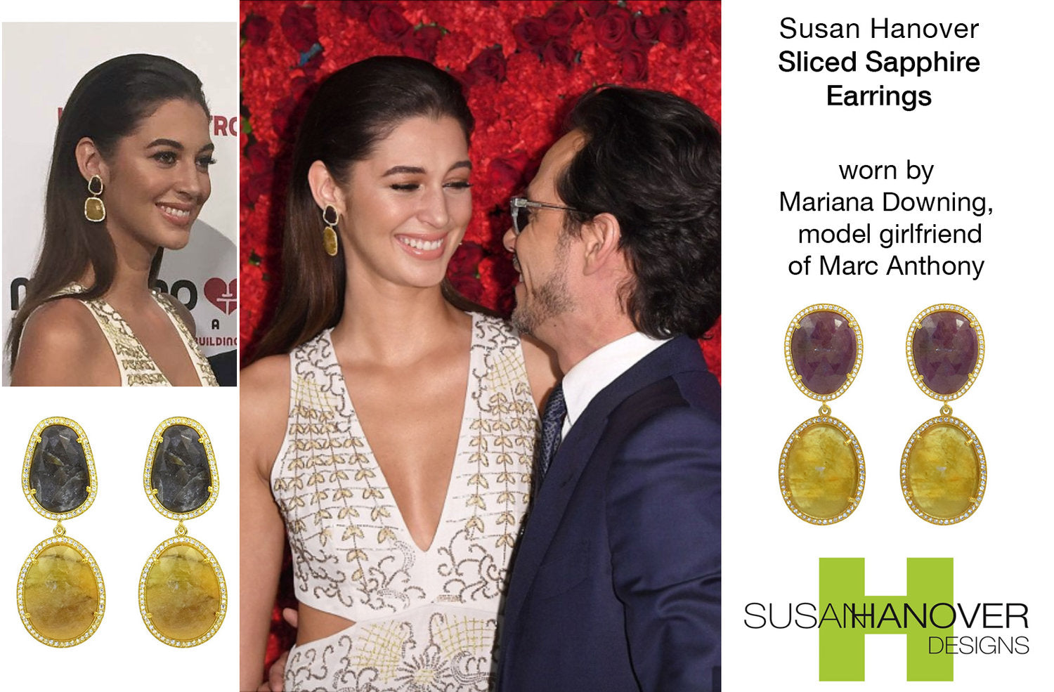Model  Mariana Downing , Girlfriend Of Marc Anthony, Wears Our Sliced Sapphire Earrings.   SHOP Sliced Sapphires
