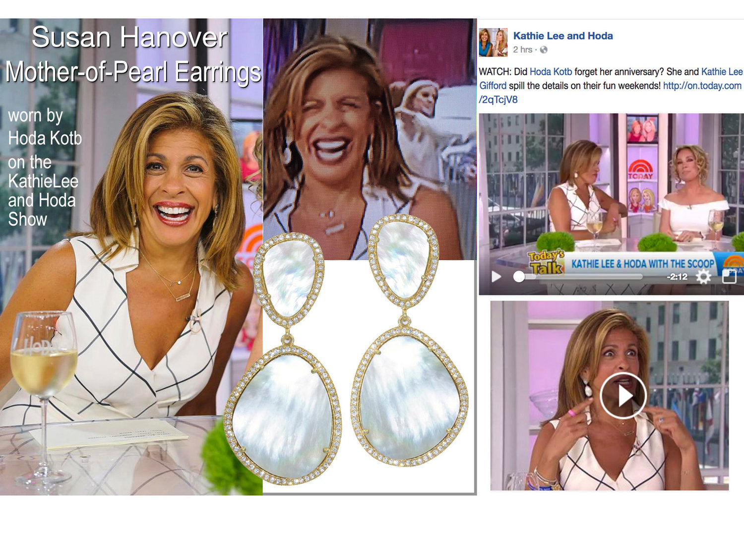 Hoda Kotb wears Susan Hanover   Mother-of-Pearl earrings   on the Today Show