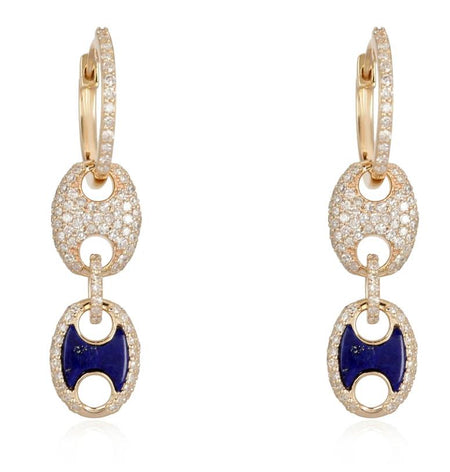 14kt Gold Diamond Huggies with lapis/diamond mariner drop
