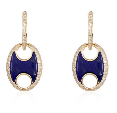 14kt Puff Diamond Lapis earrings
