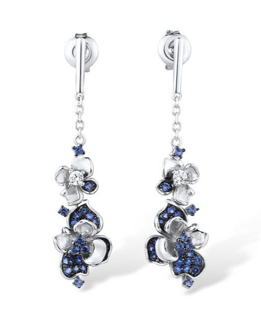 Midnight blue flower cluster earrings