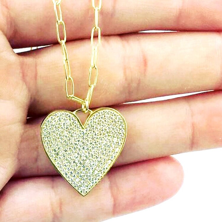 Heart Pendant on Gold Link Necklace