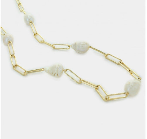 Paperclip Chain Necklace with 5 Baroque Pearls