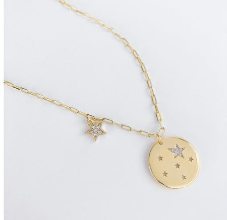 Tiny Paperclip Chain Necklace with Star Medallion