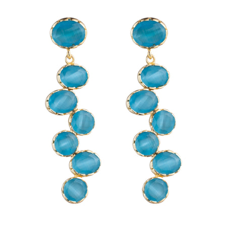 Quartz drop bezel earrings monochromatic Deep Aqua Blue