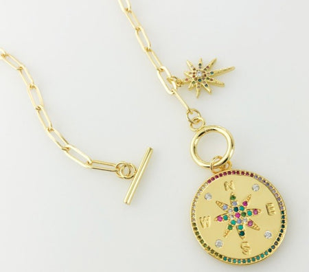Paperclip Chain Necklace with Compass and Starburst