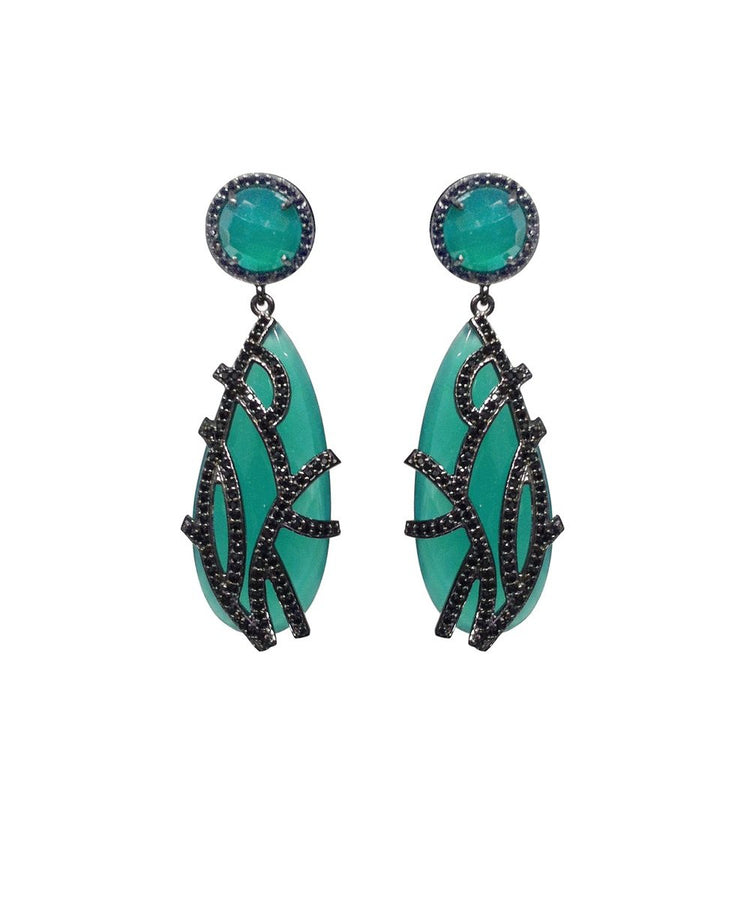 Emerald overlay earrings