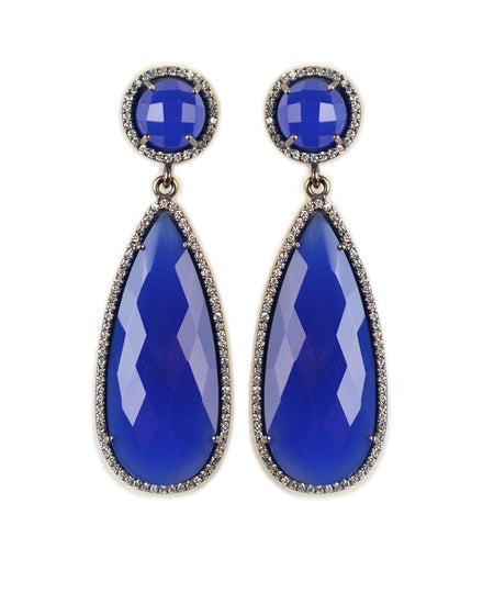 Royal Blue Chalcedony drop earring