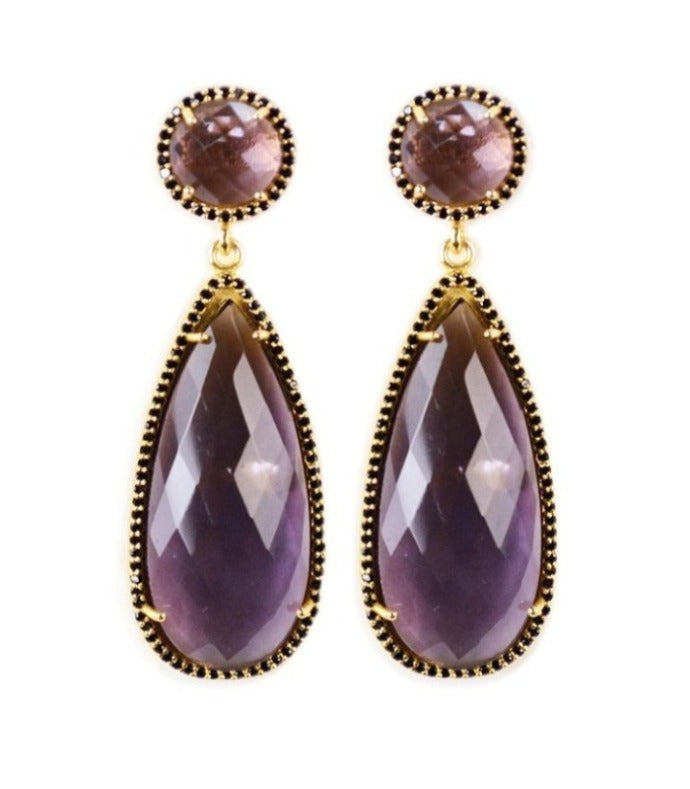 Amethyst drop earring