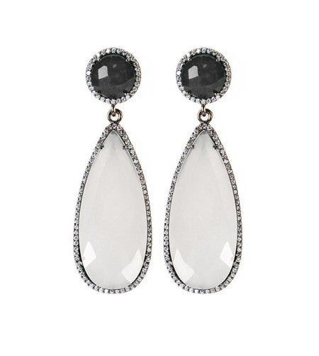 Black and white onyx drop earring