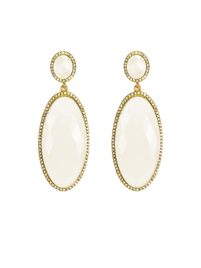 Moonstone Oval Drop Earrings