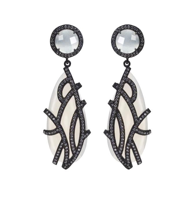 Moonstone overlay earrings
