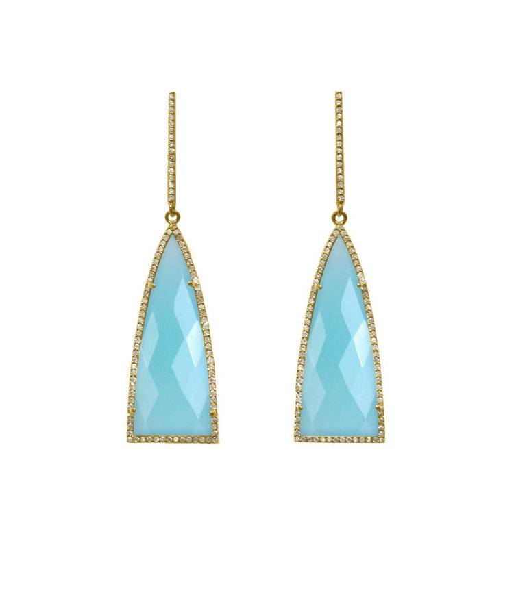 Opal Blue Triangle Drop Earrings