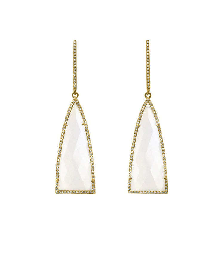 Moonstone Triangle Drop Earrings