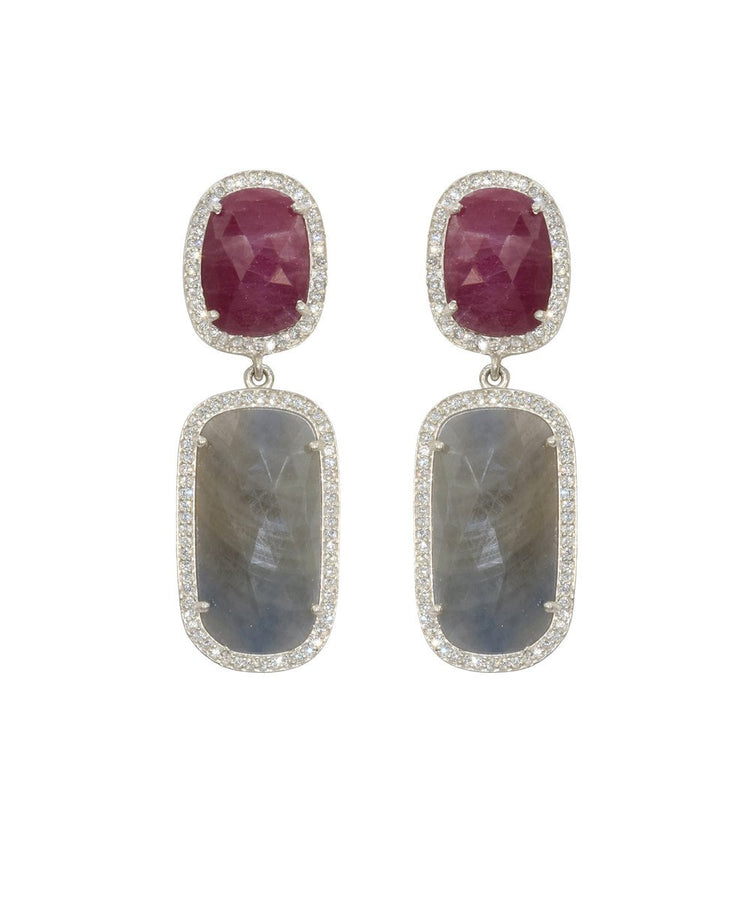 Wine/Grey Sliced Sapphire Earrings