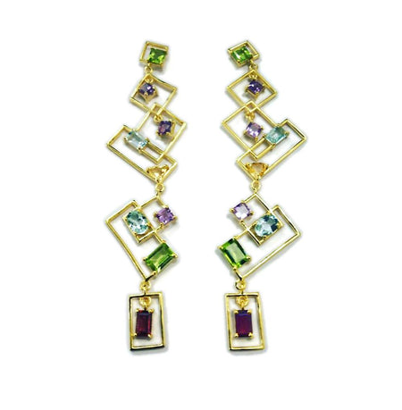 SemiPrecious Stones Rectangle Drop Earrings