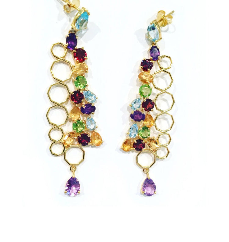 SemiPrecious Multi Stone Drop Earrings