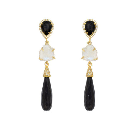 Onyx Elongated Teardrop Earrings
