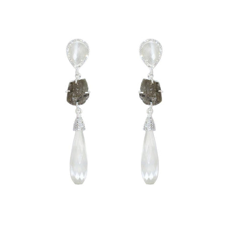 Moonstone Elongated Teardrop Earrings