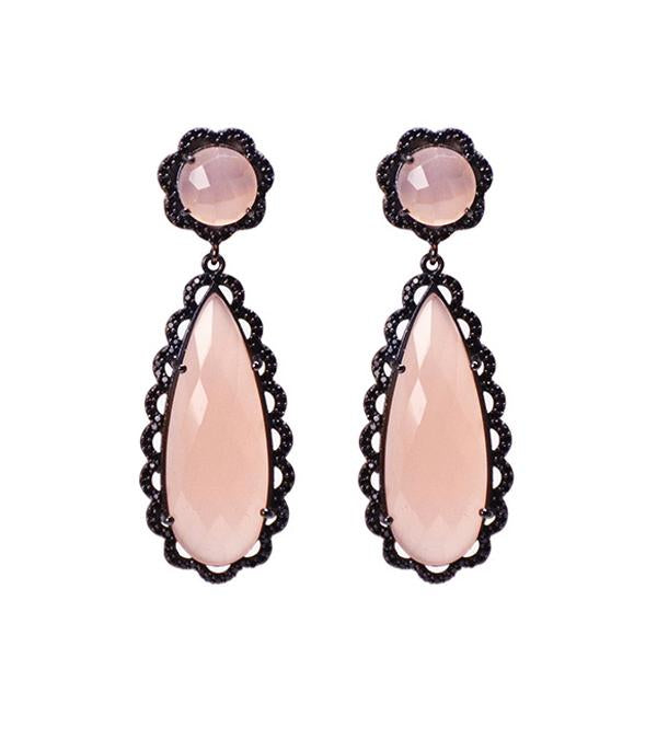 Pink quartz scallop earrings