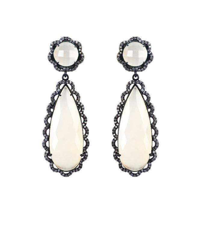 White Onyx scallop earrings