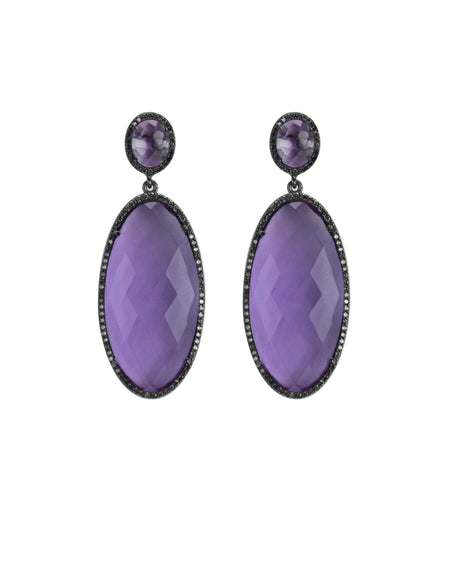 Amethyst Quartz Oval Drop Earrings