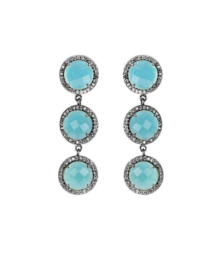 Triple Stud Drop Earrings