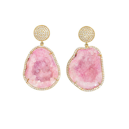 Pink Geode Drop Earrings