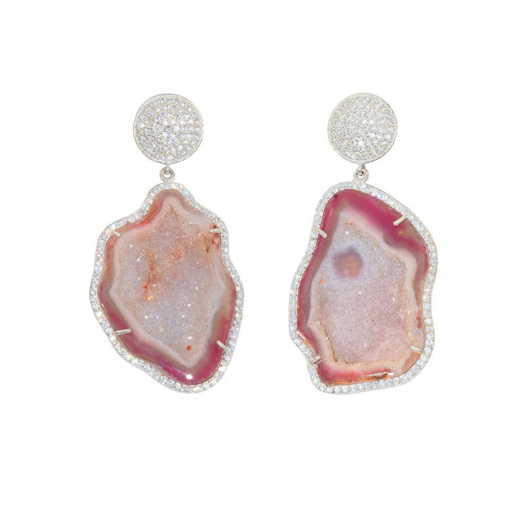 Rose Geode Drop Earrings