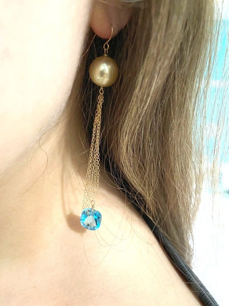 14kt long tassel earrings-aquamarine and pearl