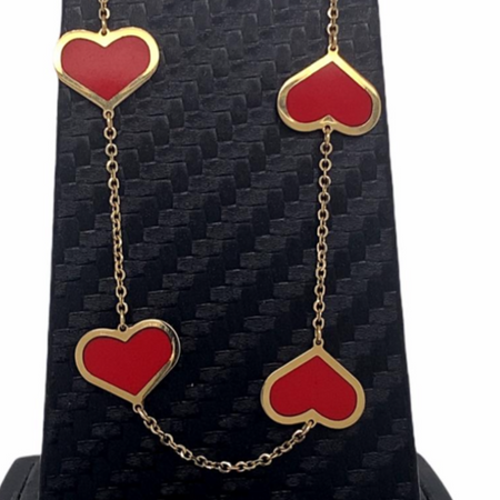 14kt Gold Red Hearts Necklace