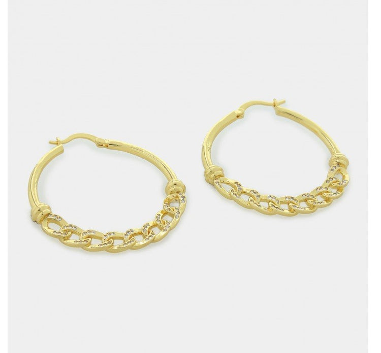 Gold Hoop Earrings with Chain Center