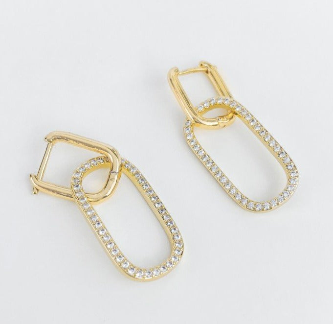 Rounded Rectangle Hoop Earrings with Cubic Zirconia Rounded Rectangle
